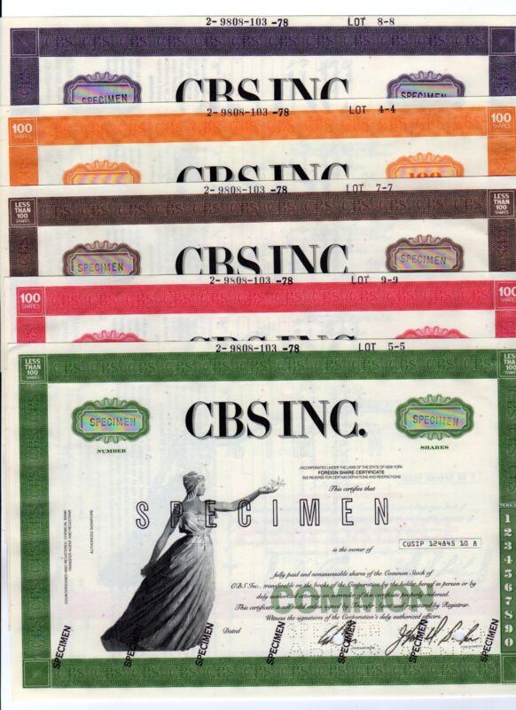 SPECIMEN - Set of 5 CBS Inc.  Stock Certificates