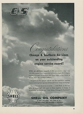 1952 Shell Aviation Oil Ad Chicago   Southern Air Lines Engine Service Record