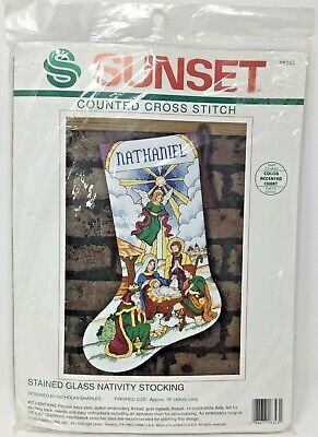Stained Glass Cross Craft (Sunset~Stained Glass Nativity Stocking~Christmas~Cross Stitch)