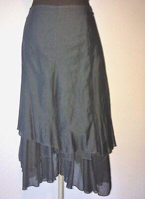 Sz 4 CAbi Asymmetrical Layered Cotton Silk Skirt Malachite Gray MSRP $108 #518