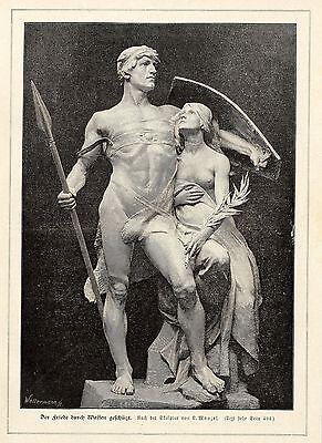 L.Manzel ( Der Friede durch Waffen geschützt ) Militärische Graphik von 1898