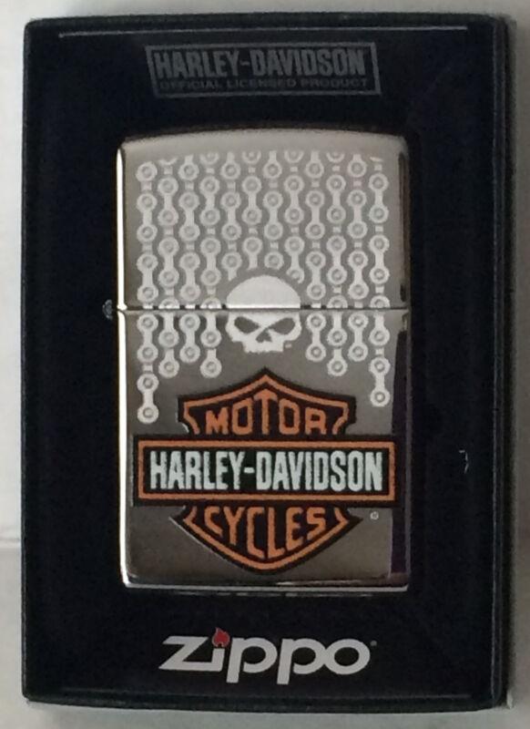 Zippo Harley Davidson Chrome Lighter With Harley Logo & Chain Design, 46832, NIB