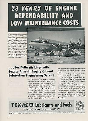 1952 Texaco Aviation Fuels Ad Delta Air Lines Douglas Dc 6 Oil Gas Airplane