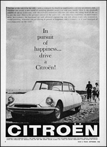 1958 Citroën Car family beach pursuit of happiness vintage photo print ad ads79