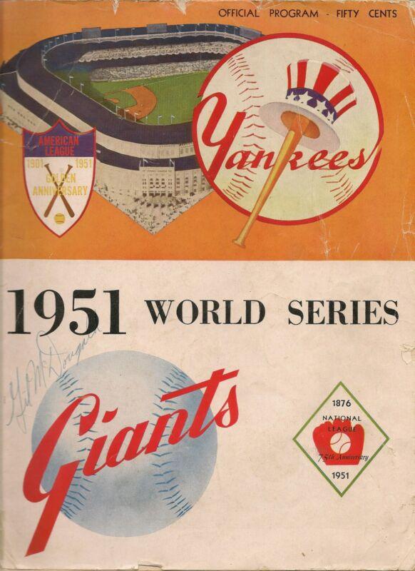1951 World Series Program Yankees-Giants GM 1,2 or 6 Yanks Win Crown!