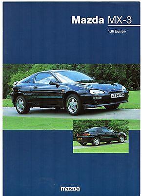 Mazda MX-3 1.8i Equipe Limited Edition 1994 UK Market Leaflet Sales Brochure