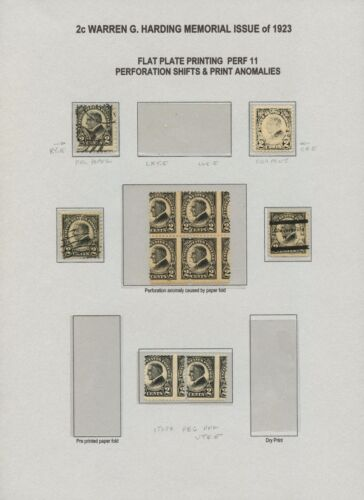 #610 Var. 2¢ Harding Memorial Issue 1923 With 6 Different Errors Bt9146