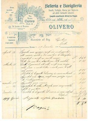SELLERIA BORIGLIERIA OLIVERO CUNEO FATTURE 1907 BAULI VALIGIE BORSE CAVALLERIA