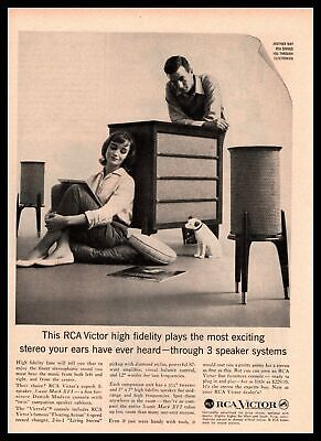1959 RCA Victor Mark XVI Danish MCM 3 Speaker Stereo Nipper Dog Vintage Print Ad