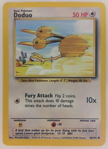 Doduo Base Set 1999 Unlimited Print NM 48//102 Pokemon Card.