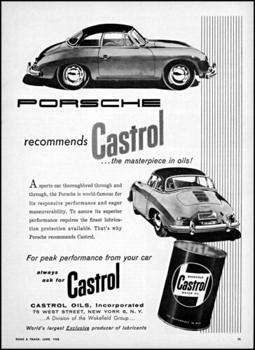 1958 Porsche Car Castrol Oil the masterpiece in oils vintage art print ad ads79