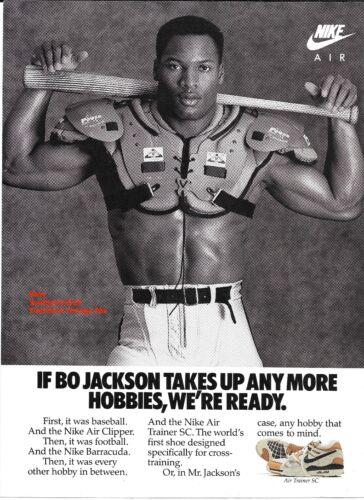 "1988 Classic Nike ""Bo Jackson"" Air Trainer SC Cross Training Shoe Print Ad"