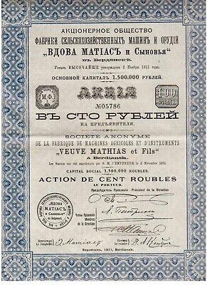 Russland: Machines Agricoles Instruments Veuve Mathias et Fils  1911 Berdiansk