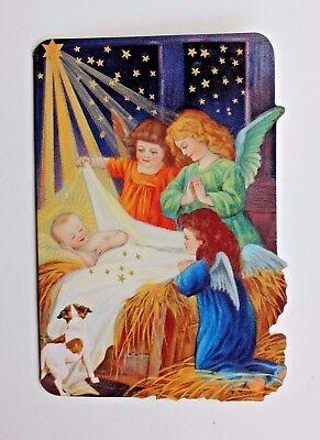 *PUNCH STUDIO Set of 6 Die Cut Blank Christmas Note Cards ~ Dog ~ Sweet Nativity ()