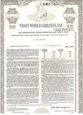 Lot: 3 TWA  Trans World Airlines Inc.  1961   5000$ Bonds