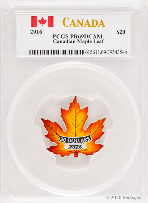 2016 Canada $20 1oz Silver $20 Proof Maple Leaf Shape Coin (Colorized)-PCGS PR69
