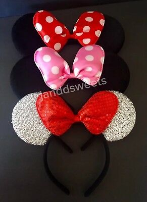 3-Minnie Mouse Pink Red Silver Bow-Mickey Mouse Ears Headband Costume Polka Dot
