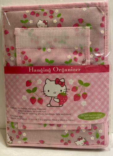 "Hello Kitty Sanrio strawberry pink 5-shelves Hanging Organizer Storage 27""Hx11""L"