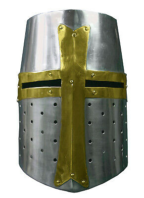 Brass Mild steel Crusader Helmet,Medieval Knight Larp Sca Party Cosplay - Medieval Helmet