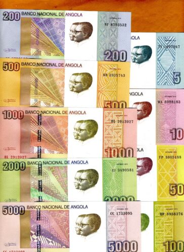 SET Angola, 5;10;50;100;200;500;1000;2000;5000 Kwanzas, 2012, 9 notes, UNC