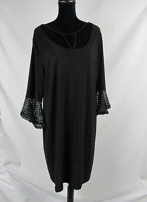 Love Scarlett Knit Dress Black Plus Size 1X Lace Cuff Bell Sleeve Sheath $78