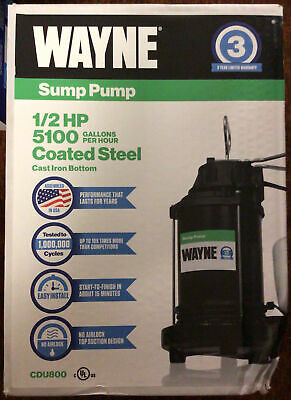 Wayne Cdu800 12 Hp Cast Iron Submersible Sump Pump W Vertical Float Switch New