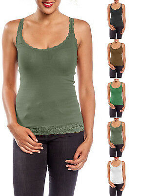 Ribbed V-Neck Sleeveless with Lace Trim Detail Racerback Tank Top S ~ L
