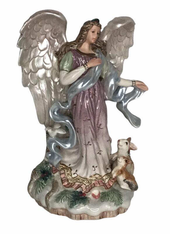 "Fitz & Floyd Christmas Classics ANGEL ""Peaceable Kingdom"" Candle Holder Animals"