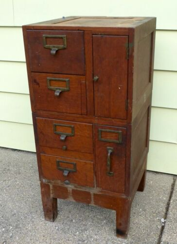 Antique Globe Oak Stacking File Cabinet
