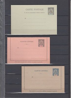 French colonies Ivory Coast 3 old stationery cards MNH - unused
