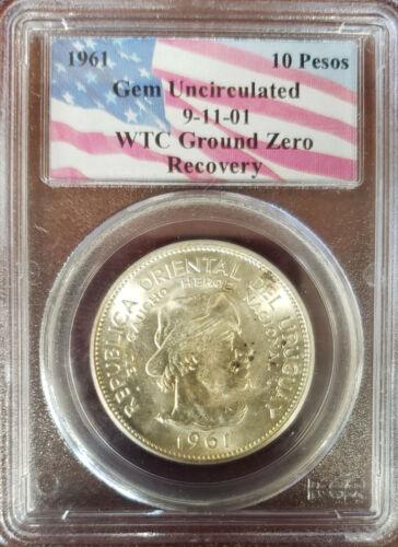 WTC Recovery: Uruguay: 1961 10 Pesos PCGS Gem Unc. (9-11 Ground Zero Recovery)