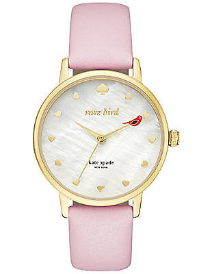 NEW Kate Spade New York KSW1255 Metro Gold / Pink Leather Strap Women's Watch