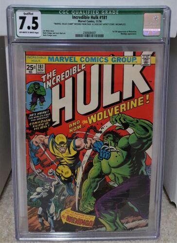 Incredible Hulk #181 (1974) CGC 7.5 Qualified - 1st App of Wolverine MARVEL Key