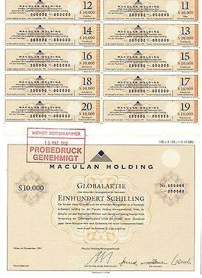 Maculan Holding  10000 Schilling  Globalaktie   Wien 1991