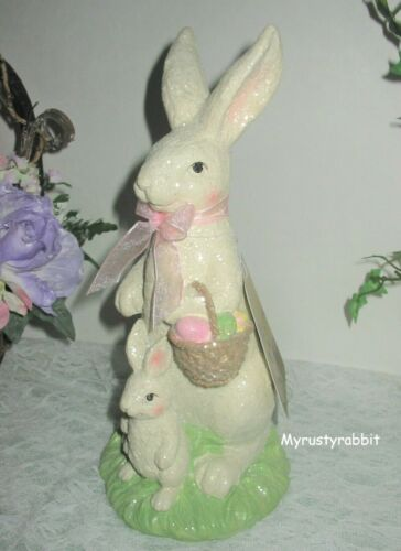 """Primitive Easter Bunny Figurine - Glittery Vintage Style - 10.5"""" New"""
