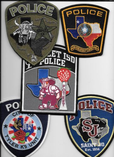 Clearance:  Texas - 5 Patch Set - # 29 shoulder police patch (fire)
