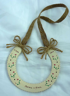 HANDPAINTED PERSONALISED BRIDAL REAL HORSESHOE-HESSIAN TRIM RUSTIC COUNTRY CHIC