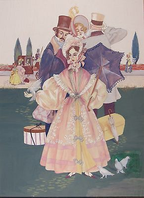 Listed MARGERY ASPEN BAUMANN Original Gouache Fashion Illustration Painting
