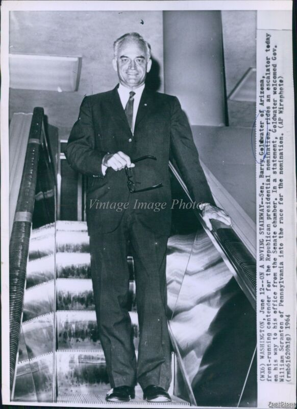1964 Escalator Takes Barry Goldwater To Capitol Office Politics Wirephoto 7X9