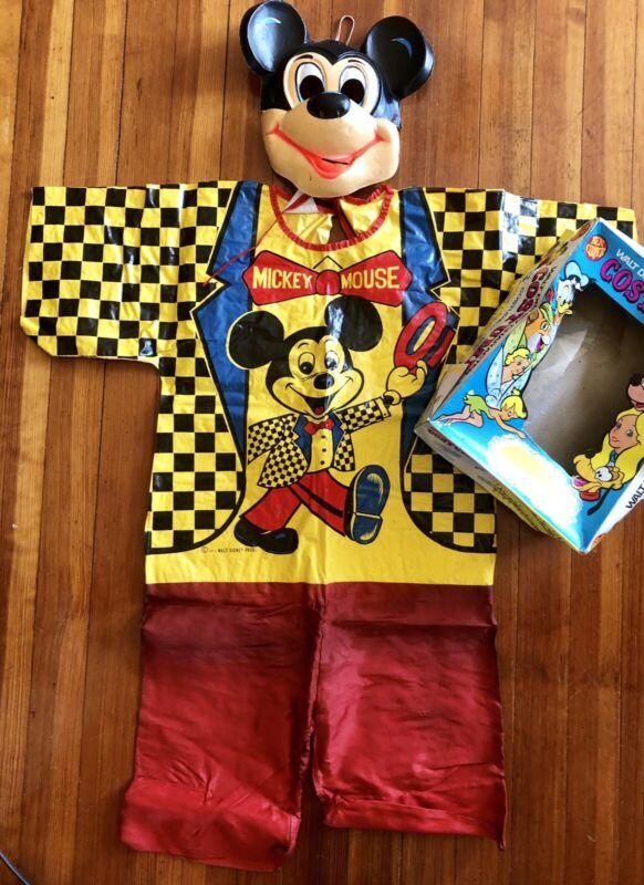 Vintage Walt Disney HALLOWEEN MICKEY MOUSE Costume Plastic Mask & Original Box