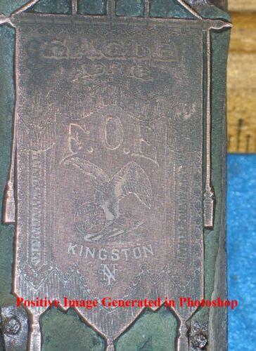 Antique KINGSTON NY Copper Printing Block FOE FRATERNAL ORDER OF EAGLES