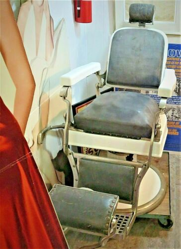Antique Koken Barber Chair Vintage Mechanical Porcelain Leather Great Project