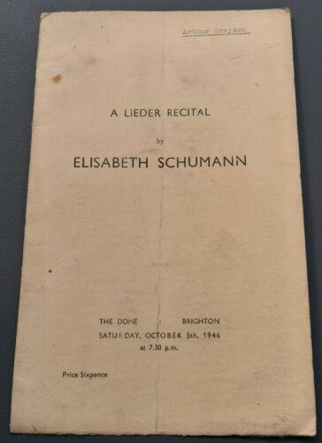 1946 Dome Brighton Lieder Recital Programme Elisabeth Schumann Soprano