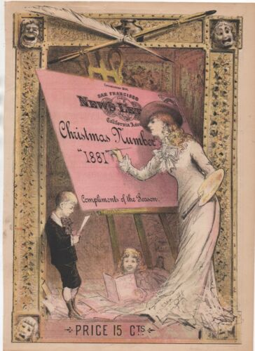 1881 Color Christmas Cover with Female Artist from the San Francisco Newsletter