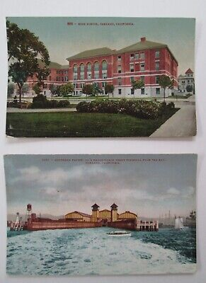 OAKLAND CA  2 Historic Postcards HIGH SCHOOL / SOUTHERN PACIFIC's Ferry Terminal for sale  Shipping to Canada