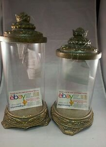Home Interiors Estancia candleHolders  Resin/ Glass Antique Silver gold finish