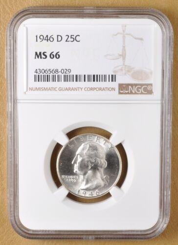 1946 D Washington Silver Quarter NGC MS66