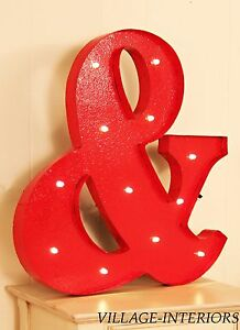 RED METAL VINTAGE LOOK AMPERSAND & LIGHT UP MARQUEE STYLE SIGN : PAINTABLE