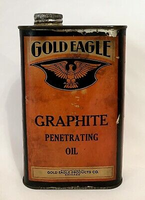 Vintage 1930's Gold Eagle Graphite Penetrating Oil Paper Label Adv Can Tin Rare