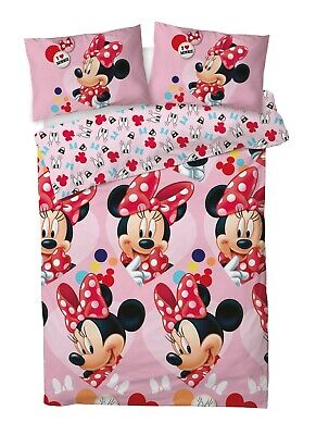 New Disney Minnie Mouse Double Duvet Quilt Cover Set Girls Pink Bedroom Gift